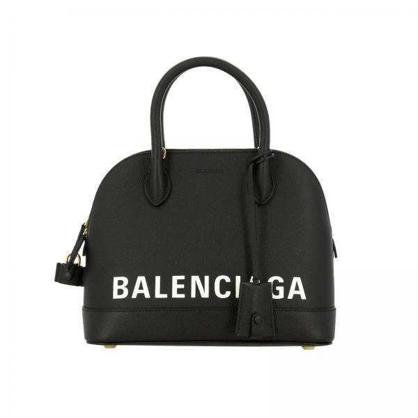 Borsa Ville S in vera pelle con maxi stampa Balenciaga