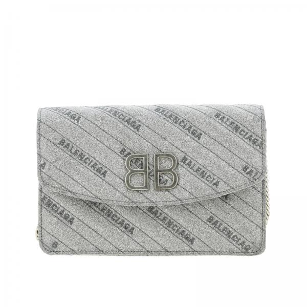 Borsa BB Chain Wallet Balenciaga mini in tessuto glitter con logo impresso all over