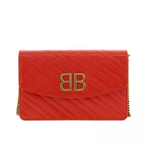 Borsa BB Chain Wallet Balenciaga mini in pelle con logo impresso all over