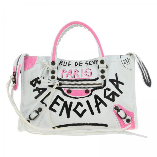 Borsa City S Balenciaga in vera pelle con graffiti multicolor