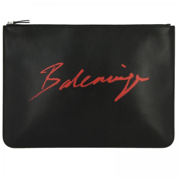 Pochette Balenciaga in pelle con stampa logo