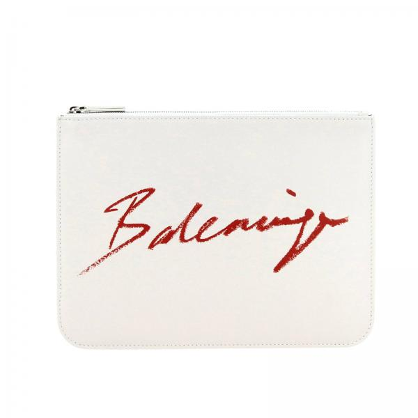 Pochette Everyday Balenciaga in pelle con stampa logo