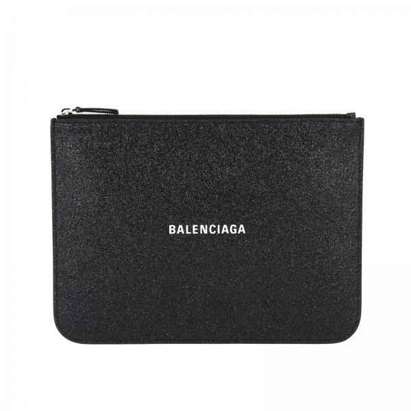 Everyday medium clutch with zip in glitter fabric with Balenciaga logo