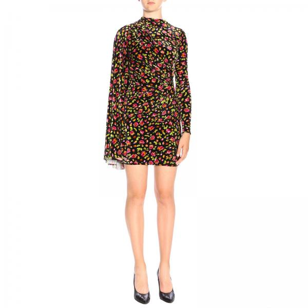 Balenciaga high-neck dress in velvet with floral print and wide sleeves