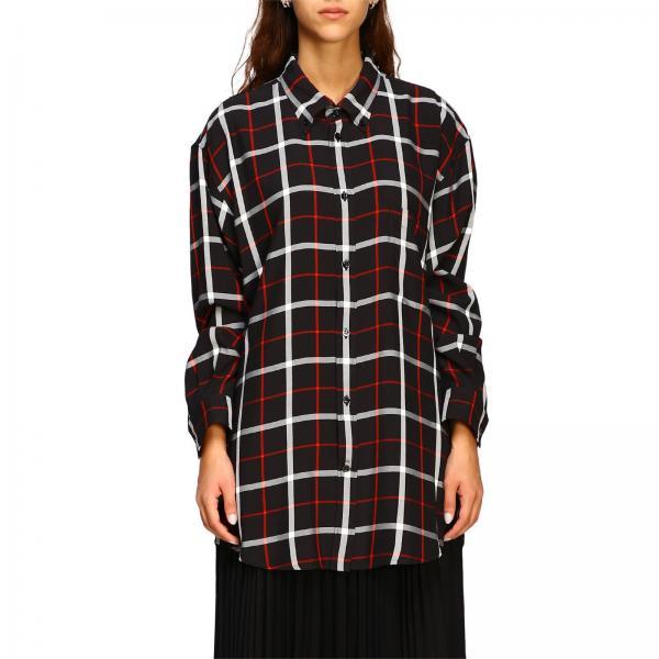Camicia over check con logo Balenciaga
