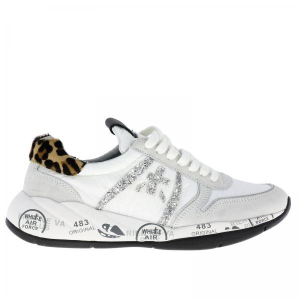 Sneakers Layla Premiata in nylon e camoscio con dettagli glitter