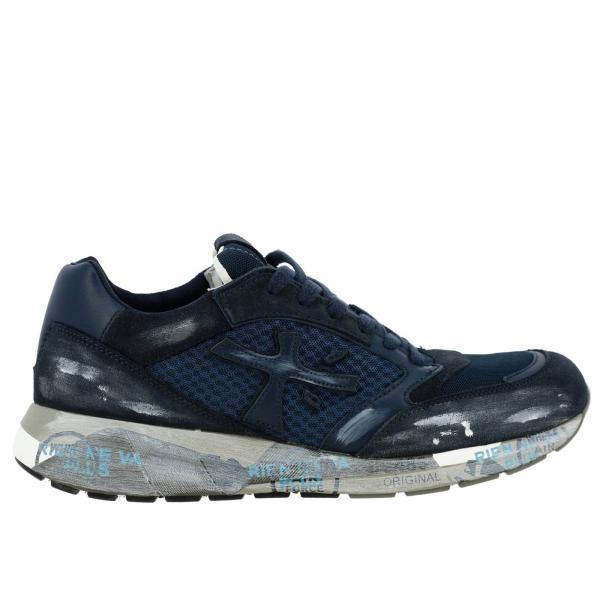 Premiata Zac Zac 绒面革网眼做旧布料橡胶鞋底运动鞋