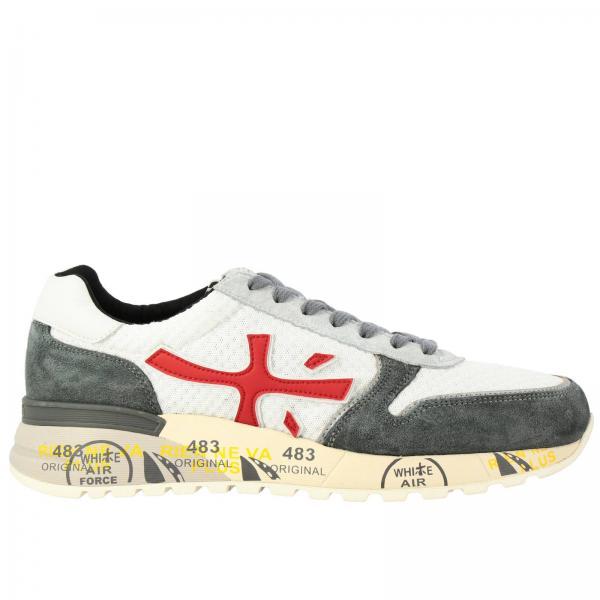 Premiata绒面革尼龙网面鞋底遍及印花Mick运动鞋