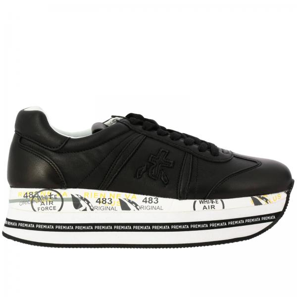 Sneakers Beth Premiata in pelle con maxi suola platform