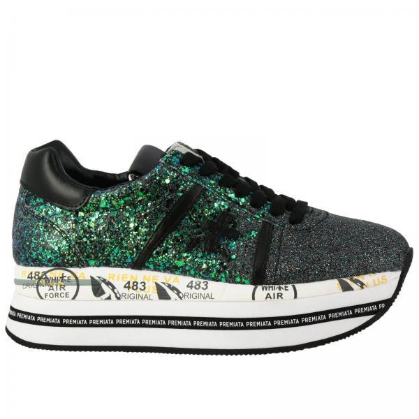 Sneakers Beth Premiata in pelle glitter con maxi suola platform