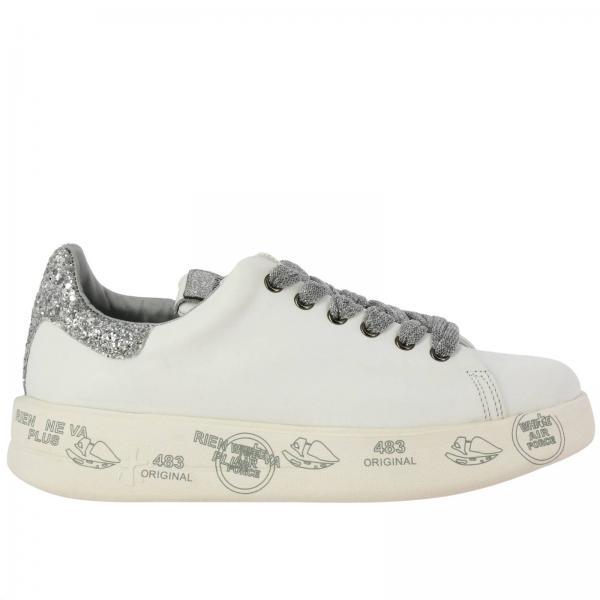 Sneakers Belle Premiata in pelle con maxi suola platform con multi stampe e glitter