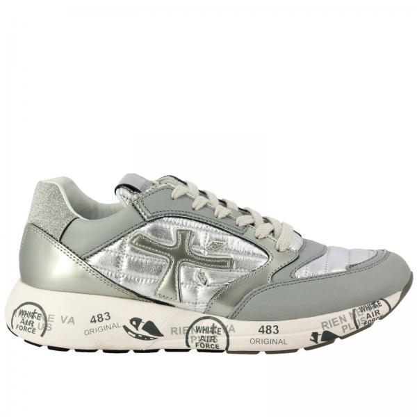Sneakers Zac-ZacD Premiata in pelle laminata e trapuntata con tallone glitter