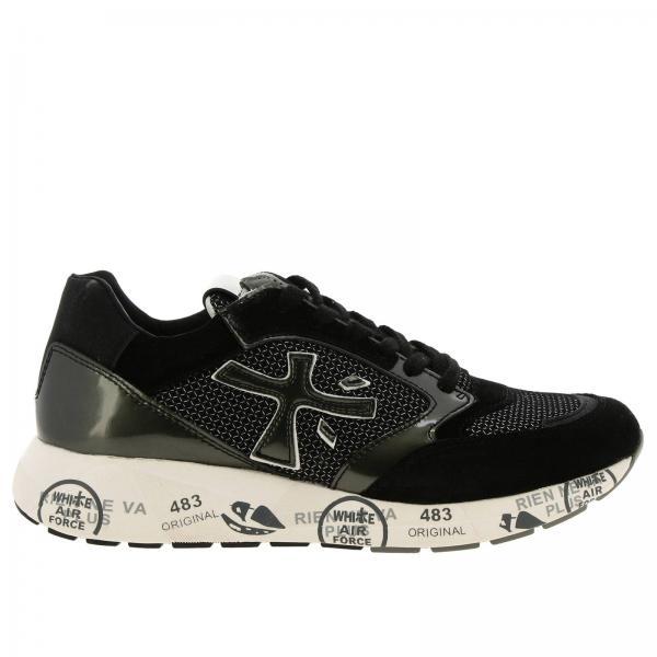 Sneakers Zac Zac Premiata in camoscio micro rete e tessuto glitter con suola in gomma