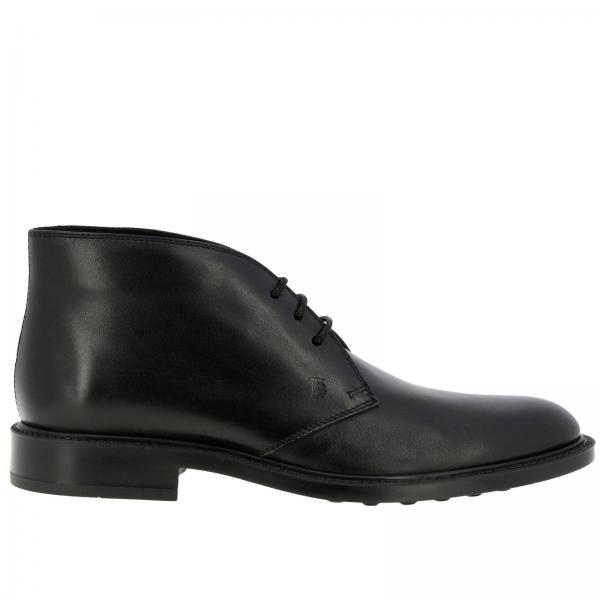 Tod's Lace-up smooth leather boots with rubber sole