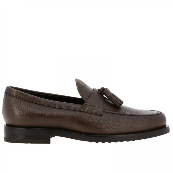 Tod's loafers in real saffiano leather with crossbar and tassels