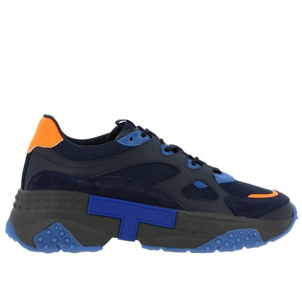 Sneakers Tod's in pelle e tela con gommini e dettagli fluo