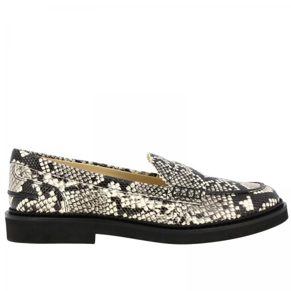 Tod's loafers in python-print leather with rubber sole and crossbar