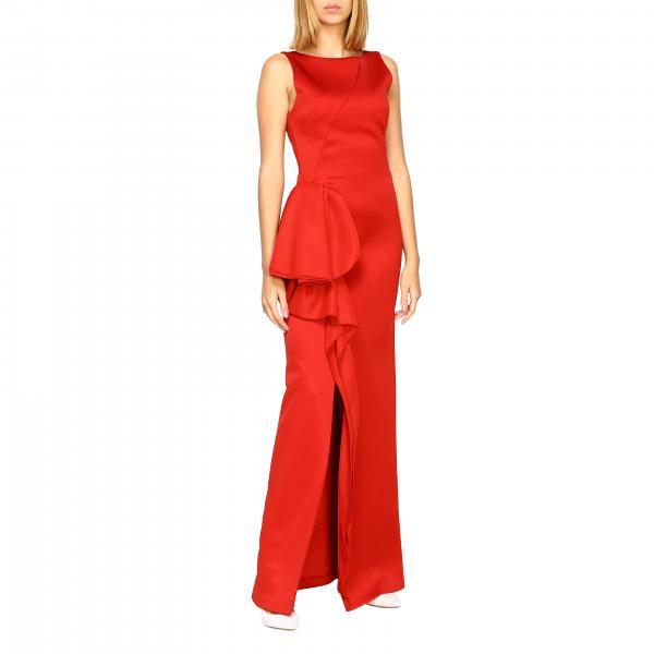 Платье Emporio Armani длинное с воланом