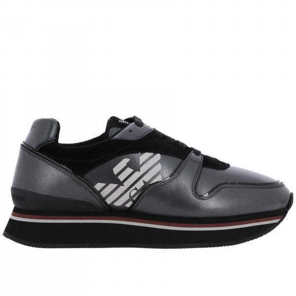 Sneakers pelle e camoscio con logo