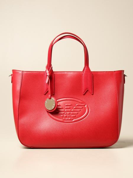 Borsa Emporio Armani shopping bag in pelle sintetica con logo in rilievo