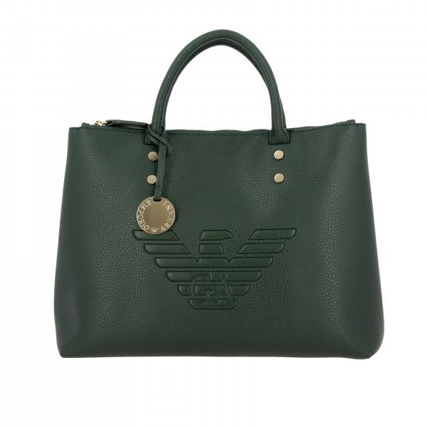 Borsa Emporio Armani shopping bag large in pelle sintetica martellata con logo embossed