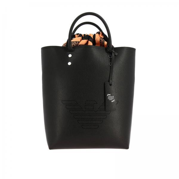 Borsa Emporio Armani shopping bag in pelle sintetica con logo traforato
