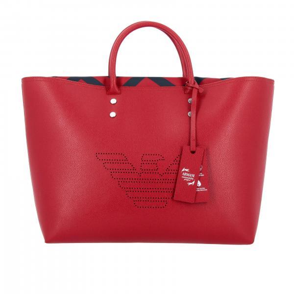 Borsa Emporio Armani shopping bag large in pelle sintetica con logo traforato