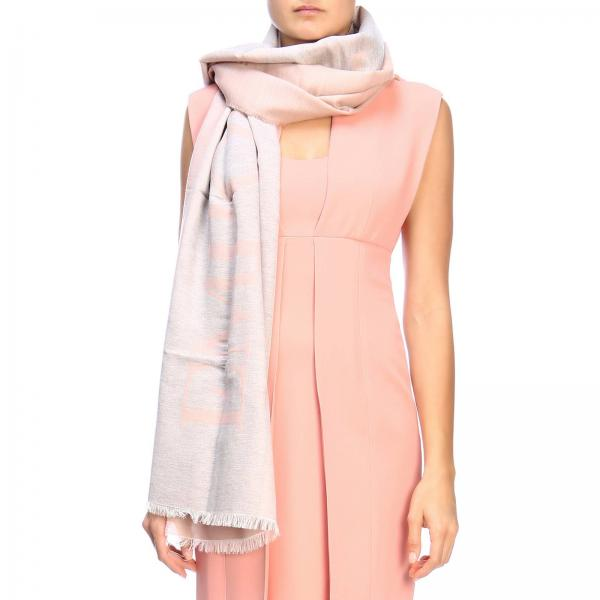 Emporio Armani scarf with maxi logo and coloured bands