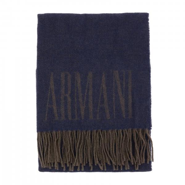 Emporio Armani Wollschal mit Fransen und Logo
