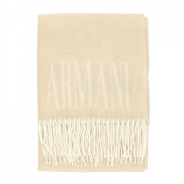 Sciarpa Emporio Armani in lana con frange e logo