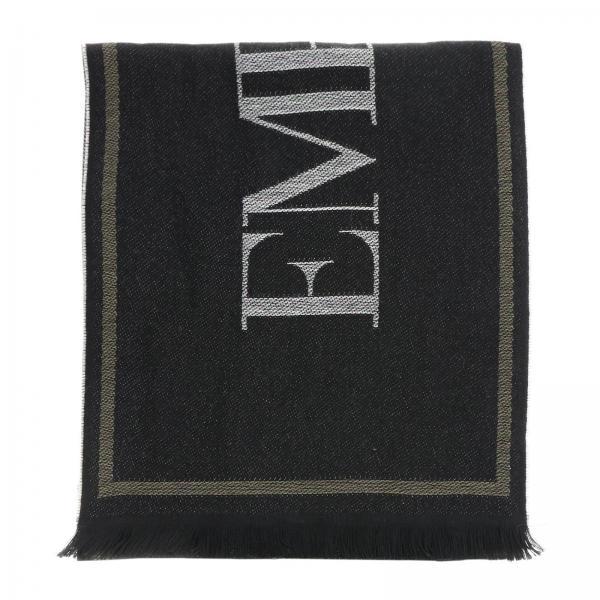 Emporio Armani jacquard wool scarf with logo