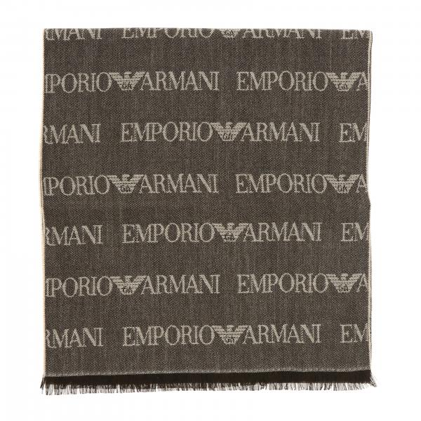 Emporio Armani blended wool scarf with all over logo