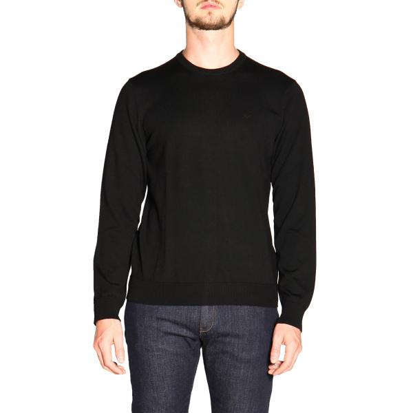 Emporio Armani long-sleeved crew neck sweater in wool