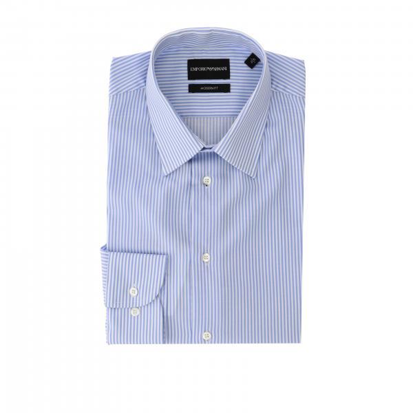 Рубашка Emporio Armani с итальянским воротником из твила в полоску