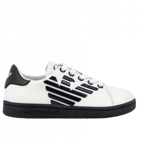 Sneakers EA7 stringata in pelle con maxi logo
