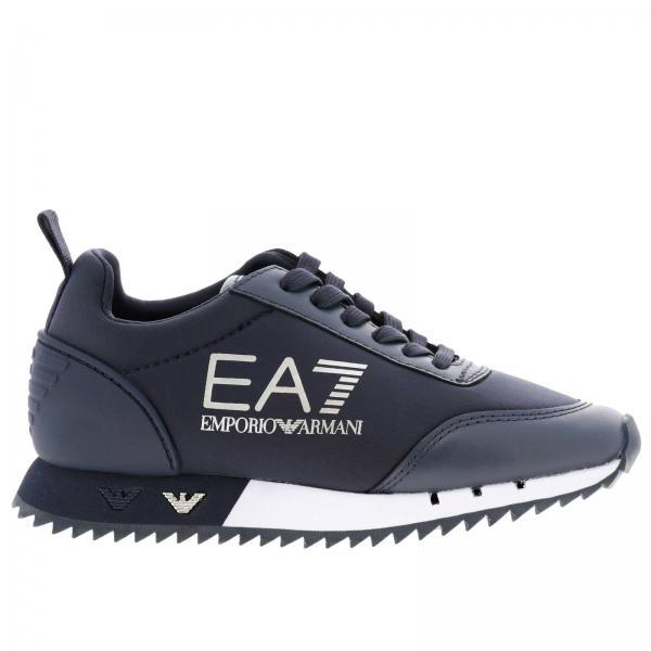 Sneakers EA7 stringata in pelle e neoprene con maxi logo
