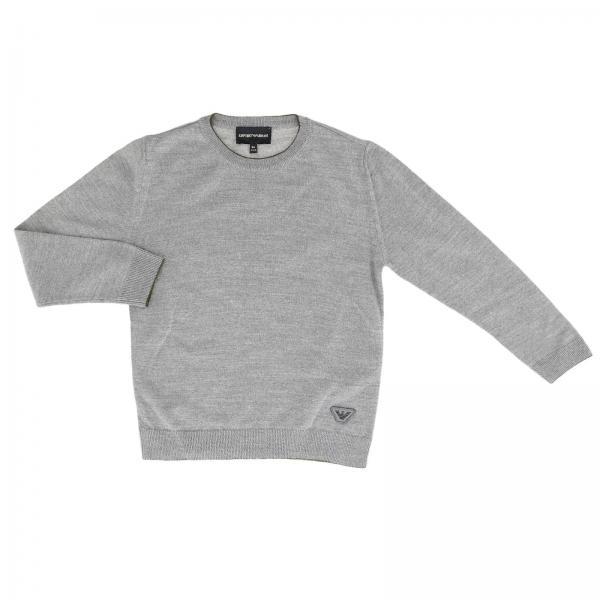 Crew neck sweater with eagle logo by Emporio Armani