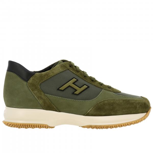 New Interactive Hogan leather suede and micro-striped fabric sneakers with H flock