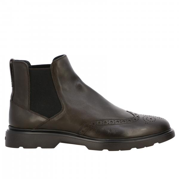 Stivaletto 393 route Hogan in pelle con suola memory e motivo brogue