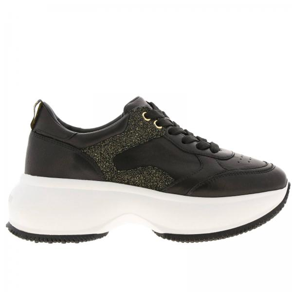 Active One Maxi Hogan smooth leather sneakers with lurex details