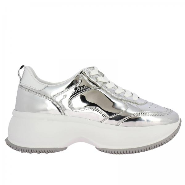 Sneakers Active one Maxi Hogan in pelle specchiata e pelle liscia