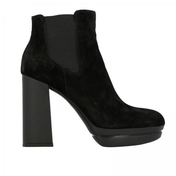 H391 Opti Hogan suede ankle boots with elasticated bands and wide heels