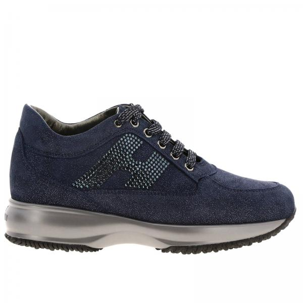 Hogan Interactive lurex suede sneakers with H strass