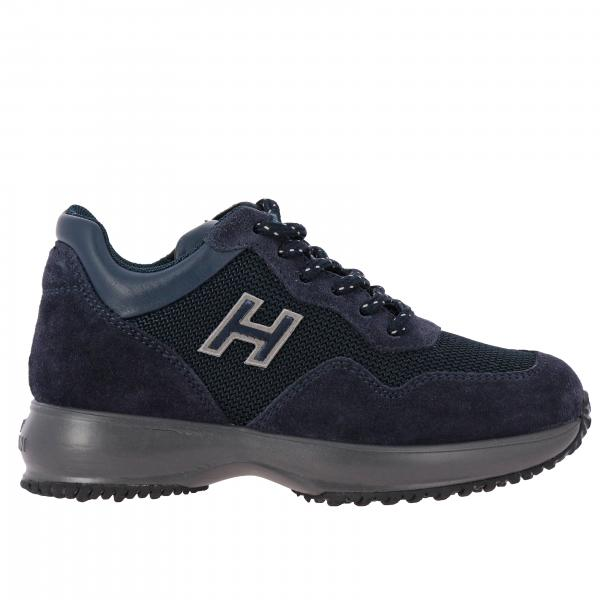 Sneakers Interactive Hogan in camoscio e rete con H flock
