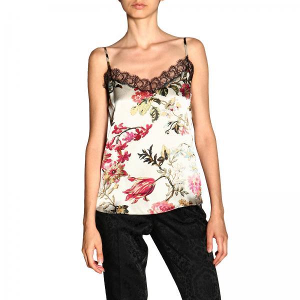 Блузка Etro из шелка с цветочным узором и краями из кружева