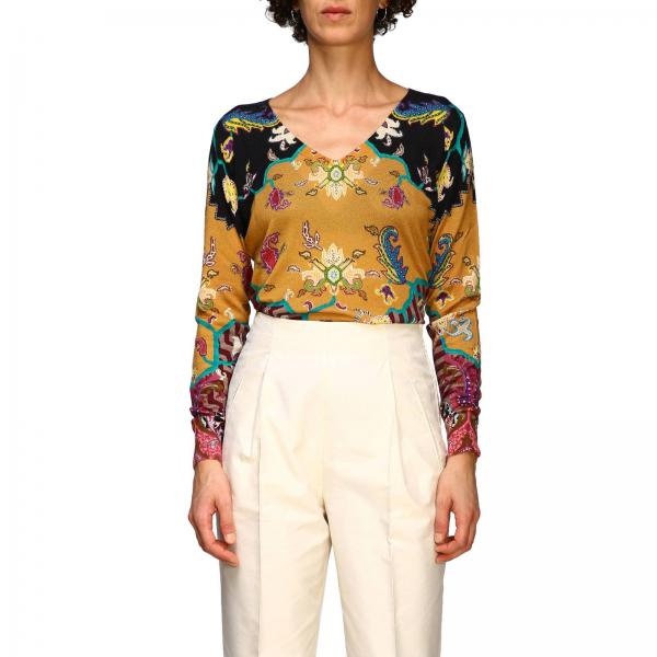 Long-sleeved shirt in silk and cashmere with cross pattern by Etro