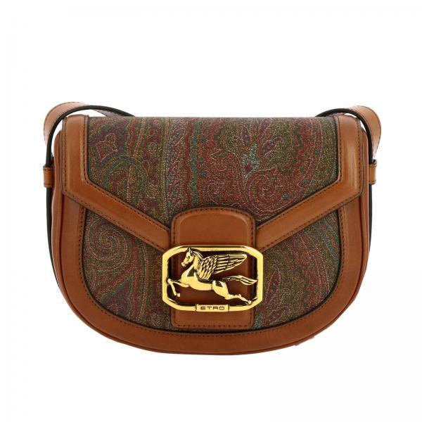 Pegaso Etro leather and ethnic fabric bag
