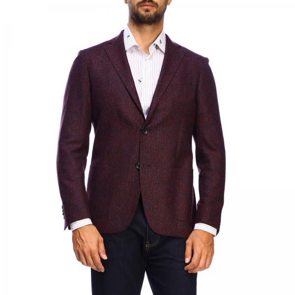 Etro Single-breasted melangé wool jacket with two buttons