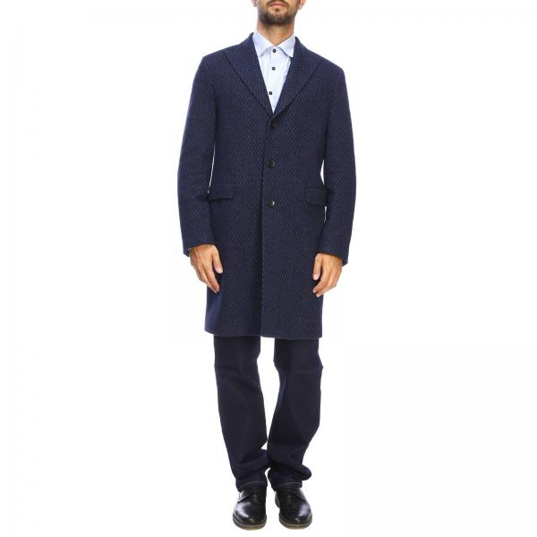 Medium single-breasted Etro wool coat with micro jacquard patterned