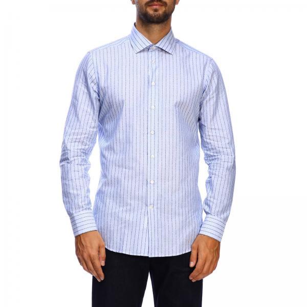 Camisa etro slim de jacquard con cuello italiano